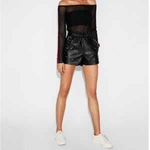 Express | High rise faux leather embellished short
